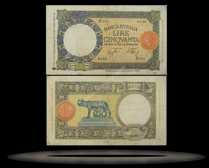 Italy Banknote, 50 Lire, 30.4.1937, P#54b