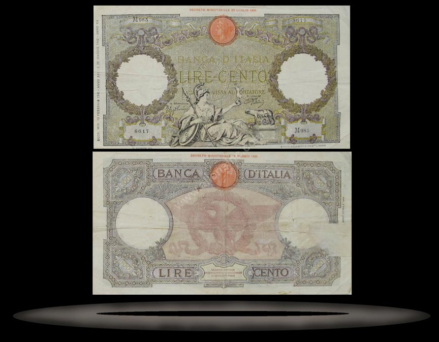 Italy Banknote, 100 Lire, 13.2.1943, P#60