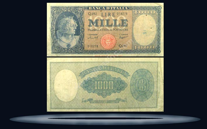 Italy Banknote, 1000 Lire, 25.9.1961, P#88d