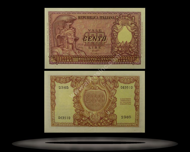 Italy Banknote, 100 Lire, 31.12.1951, P#92a