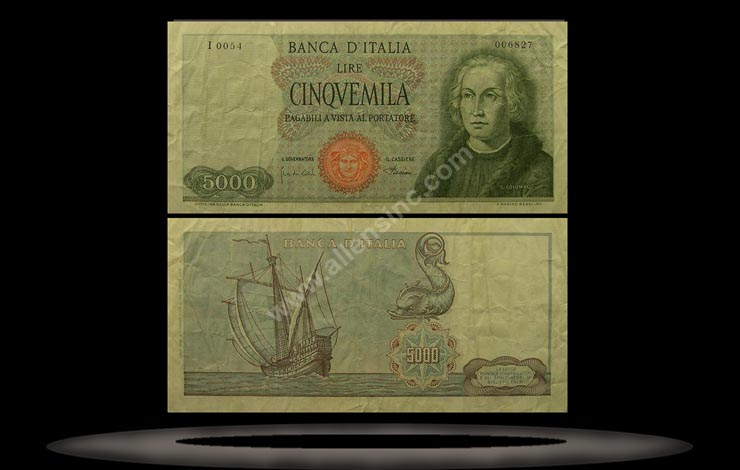 Italy Banknote, 5000 Lire, 4.1.1968, P#98b