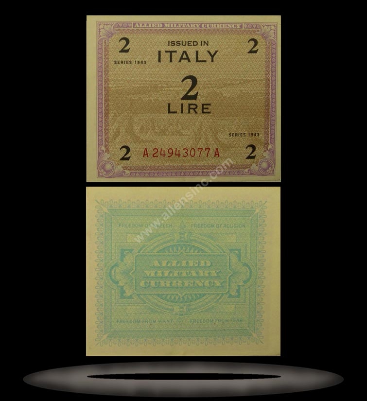 Allied Military Currency, Italy Banknote, 2 Lire, 1943, P#11b