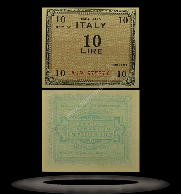 Allied Military Currency, Italy Banknote, 10 Lire, 1943, P#13b