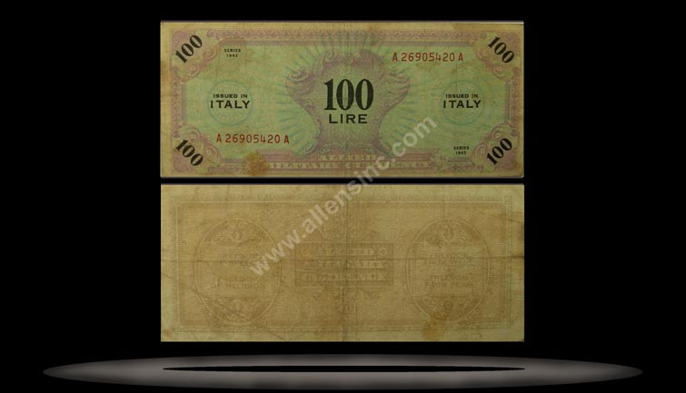 Allied Military Currency, Italy Banknote, 100 Lire, 1943, P#15b MAIN