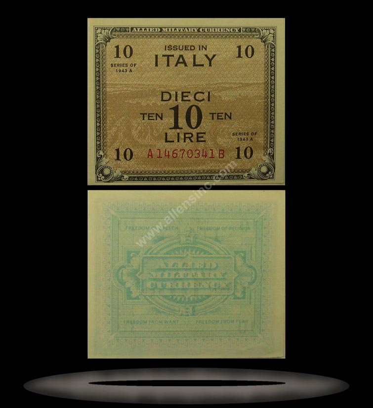 Allied Military Currency, Italy Banknote, 10 Lire, 1943, P#19b