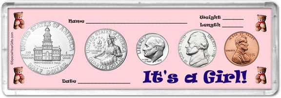 1976 It's A Girl! Coin Gift Set LARGE