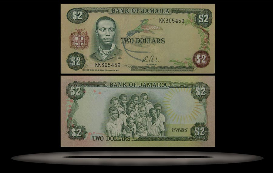 Jamaica Banknote, 2 Dollars, ND (1982-86), P#65a