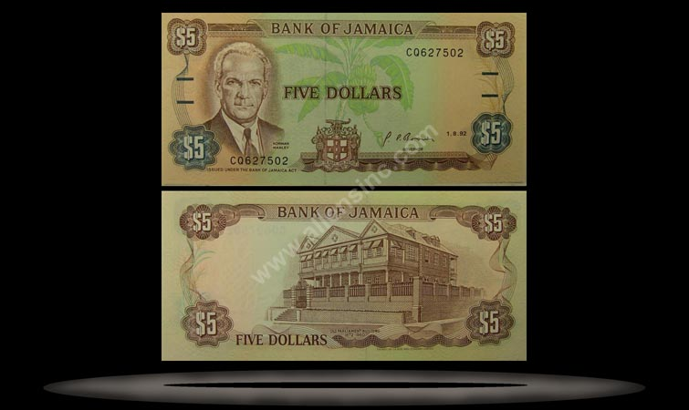Jamaica Banknote, 5 Dollars, 1.1.1985, P#70a