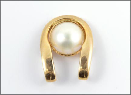 Mabe' Pearl Slide Pendant in 14K Yellow Gold LARGE