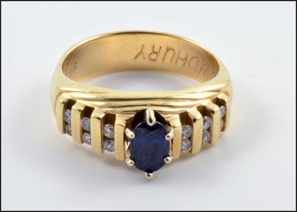 Sapphire and Diamond Band in 14K Yellow Gold LARGE