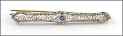 Filigree Sapphire Bar Pin in 14K Two-Tone Gold