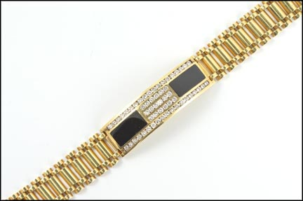 Men's Onyx and Diamond Bracelet in 14K Yellow Gold LARGE