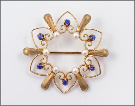 Vintage Sapphire and Pearl Pin 1925-35 in 14K Yellow Gold LARGE
