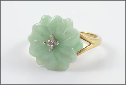 Jade Flower Ring in 10K Yellow Gold LARGE