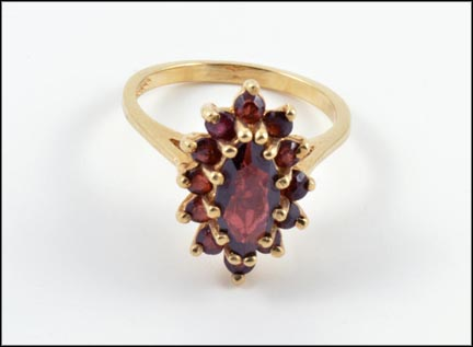 Garnet Cluster Ring in 10K Yellow Gold LARGE