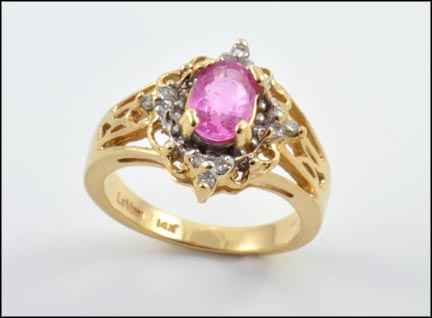 Levian Pink Sapphire Ring in 14K Yellow Gold