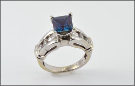 Lab-Created Alexandrite and Diamond Ring in 14K White Gold