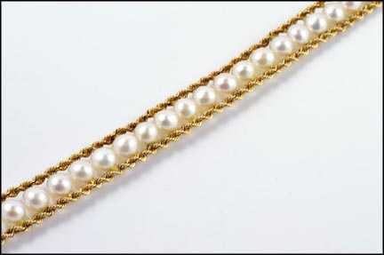 Pearl Bracelet in 14K Yellow Gold LARGE