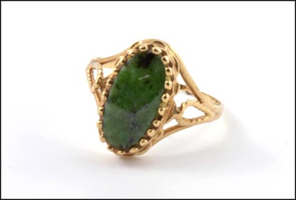 Jade Ring in 10K Yellow Gold