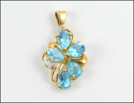 Blue Topaz Cluster Pendant in 10K Yellow Gold