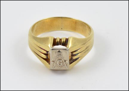 Men's Masonic Blue Lodge Ring in 14K Two-Tone Gold