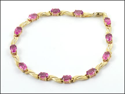 Pink Topaz Bracelet in 14K Yellow Gold LARGE