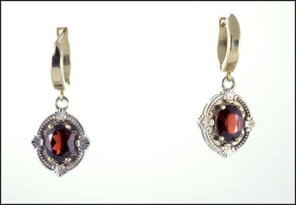Dangle Garnet Earrings in 14K White Gold LARGE