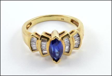 Kyanite and Diamond Ring in 10K Yellow Gold