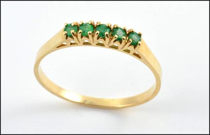 Emerald Band Ring in 14K Yellow Gold