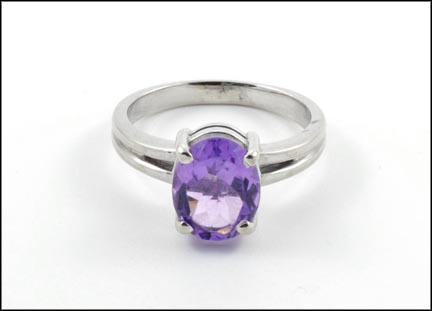 Amethyst Ring in 14K White Gold LARGE