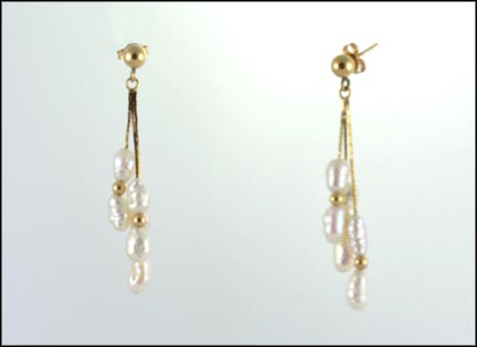 Freshwater Pearl Earrings in 14K Yellow Gold
