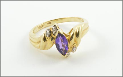 Marquis Cut Amethyst Ring in 10K Yellow Gold