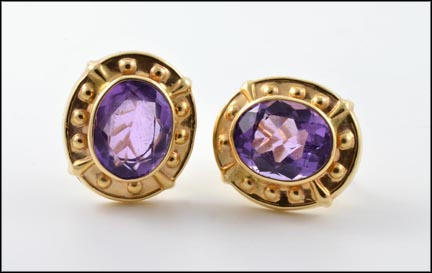 Omega Back Amethyst Stone Earrings in 14K Yellow Gold