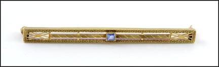 Sapphire Bar Pin 1930's in 14K Yellow Gold