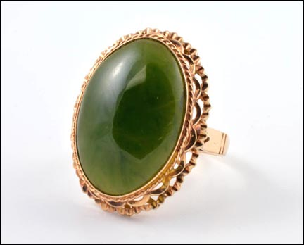 Jade Ring in 18K Rose Gold