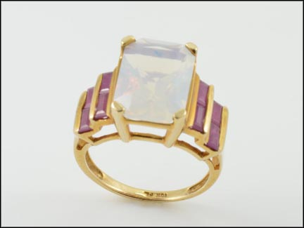 Moonstone and Ruby Ring in 10K Yellow Gold