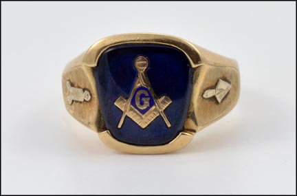 Masonic Blue Lodge Ring in 10K Yellow Gold