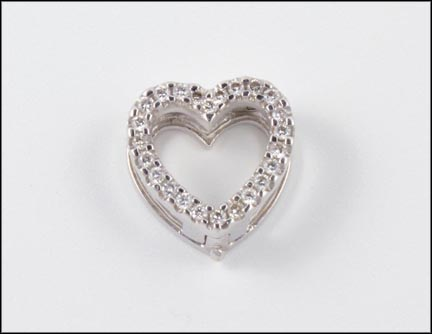 Diamond Heart Slide in 18K White Gold