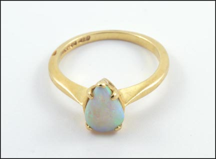Teardrop Opal Ring in 14K Yellow Gold