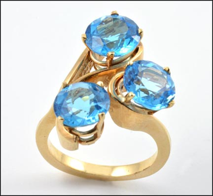Blue Topaz Stones Ring in 14K Yellow Gold