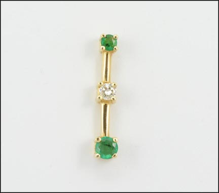 Three Stone Pendant Emerald and Diamond in 14K Yellow Gold