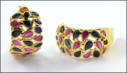 Sapphire and Ruby Earrings in 18K Yellow Gold