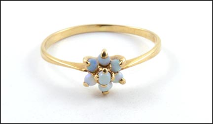 Opal Cluster Ring in 10K Yellow Gold
