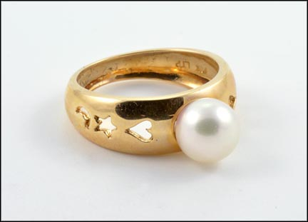 Pearl Ring with Heart, Star and Moon Design in 14K Yellow Gold
