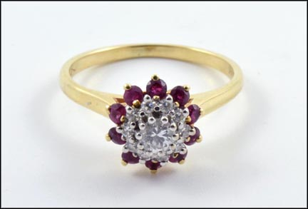 Ruby and Diamond Cluster Ring in 14K Yellow Gold LARGE