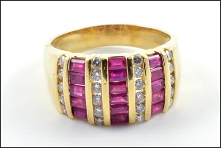 Ruby and Diamond Band in 14K Yellow Gold LARGE