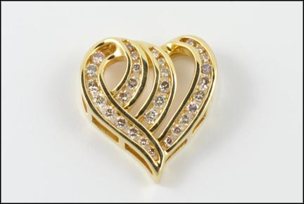 Diamond Heart Slide Pendant in 14K Yellow Gold