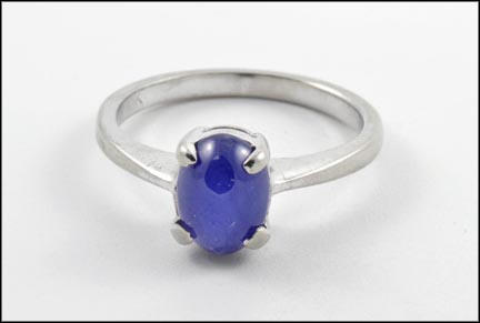 Blue Synthetic Linde' Star Ring in 10K White Gold LARGE