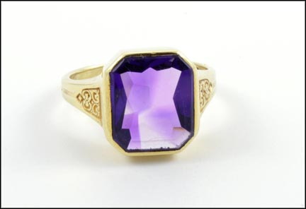 Amethyst Ring in 14K Yellow Gold LARGE