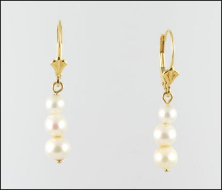 Pearl Dangle Earrings in 14K Yellow Gold